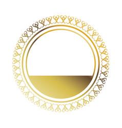 Golden round frame element vintage stamp blank vector