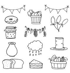Hand draw object thanksgiving set doodles vector