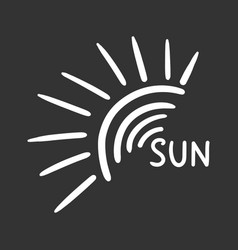 Hand drawn sun icon isolated on black background vector