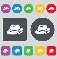 Hat icon sign a set of 12 colored buttons flat vector