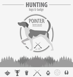 Hunting logo and badge template dog hunting vector