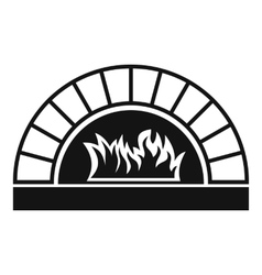 Pizza oven with fire icon simple style vector image