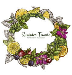 round frame with different fruits and berries vector image