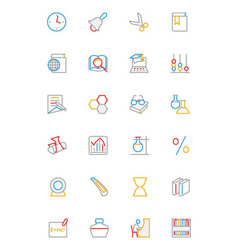 School and Education Colored line Icons 5 vector image vector image