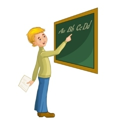 Schoolboy at blackboard vector