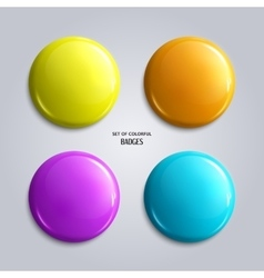 Set of blank colorful glossy badges vector image vector image
