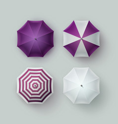 set of white purple striped umbrella sunshade vector image vector image