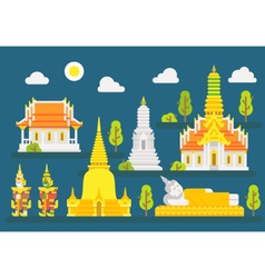 Thailand temple infographic elements set vector