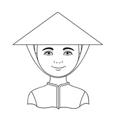 Vietnamesehuman race single icon in outline style vector