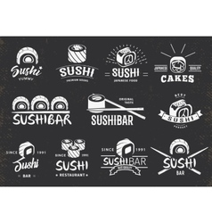 White traditional japanese food emblems set vector