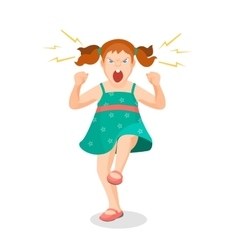 Girl full of anger is shouting something with vector image