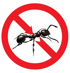 Ants banned sign prohibited vector