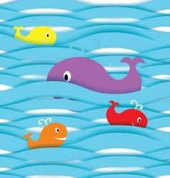 Paper fishes in ocean vector image