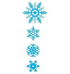 Set of simple varied geometric snowflakes vector