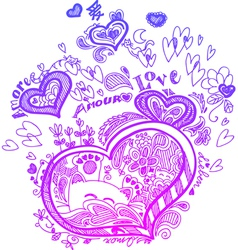 Heart sketched doodles vector