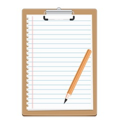 Clipboard with blank paper and pensil vector