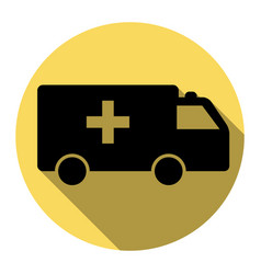 Ambulance sign   flat black vector