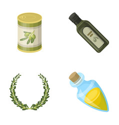 A can of canned olives a bottle of oil with a vector