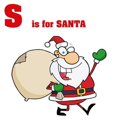 Santa cartoon with letter vector image