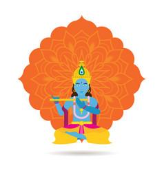 Krishna hindu god or deity vector