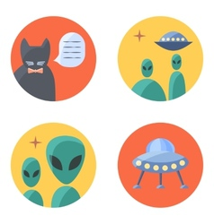 Freak flat icon set for contacts vector