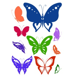Ornamented abstract silhouettes butterflies vector