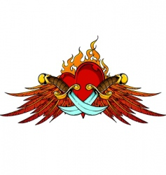 Wings dagger and flaming heart vector