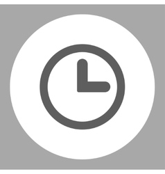 Clock flat dark gray and white colors round button vector