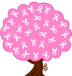 breast cancer pink ribbon tree vector image