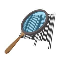 Loupe with a barcode cartoon icon vector