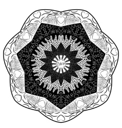 Black and white mandala inscription love vector