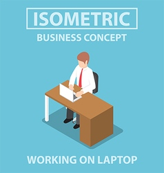Isometric businessman working on laptop vector