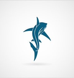 Shark sailing far away sign logo vector