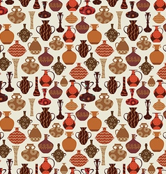 Vintage seamless texture with old variety vases vector