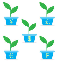 Growth income from start up set sprout in a pot vector