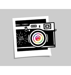 Vintage photo camera out of photoframe vector