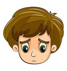 A head of a sad young boy vector image vector image