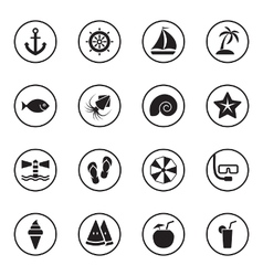 Black flat beach and summer icon set vector