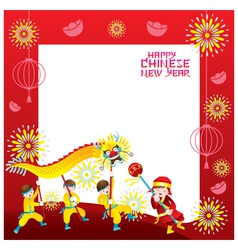 Chinese new year frame with dragon dancing vector