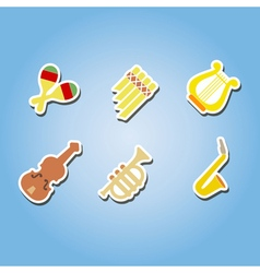 Color icons with musical instruments vector