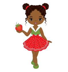 Cute african american girl with strawberry vector