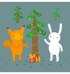 Cute animals greeting card vector