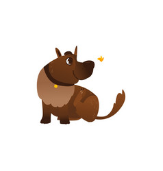 flat brown dog character playing butterfly vector image