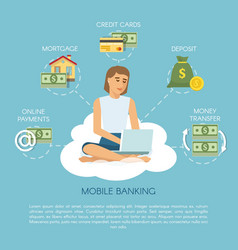 flat mobile banking concept vector image
