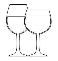 glasses of wine icon outline style vector image vector image