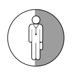 Grayscale circular frame shading with pictogram vector