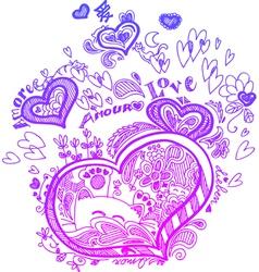 Heart valentine doodles vector
