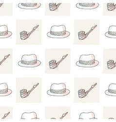 Hipster seamless pattern with hat and tobacco pipe vector image vector image