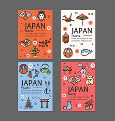 japan travel flyers placrad banners set vector image