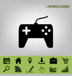Joystick simple sign black icon at gray vector